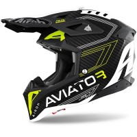 Casco da Motocross Enduro Motard Airoh Aviator 3 YELLOW MATT PRIMAL 2021 Tag. XS
